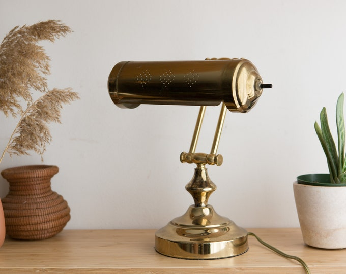 Vintage Brass Lamp - Gold Colored Mid Century Modern Style Adjustable Desk Lamp - 40 Watt Type T Bulb