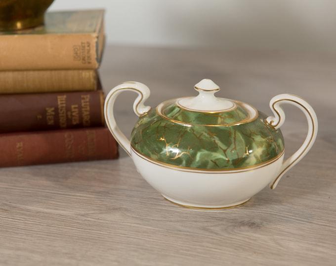 Aynsley Onyx Sugar Bowl Dish - Green and Gold Fine English Bone China - Lush Green Leafy Marbled Jungle Pattern Canister