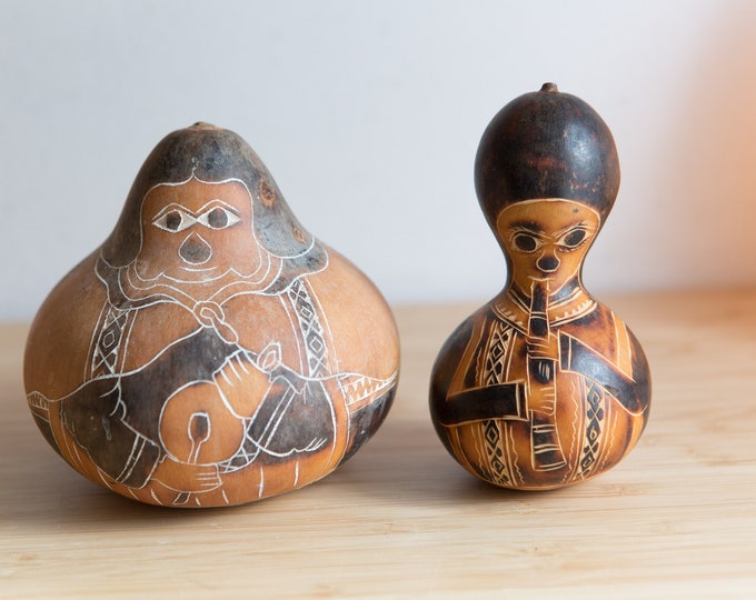 Painted Gourds / Dried Calabash with Painted Face - African Tribal Art Decor - Modern Boho Decor - Burnt Orange Color