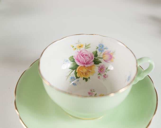 Vintage Teacup - Mint Green and Floral Tea Cup and Saucer - Royal Stafford Bone China - Made in England