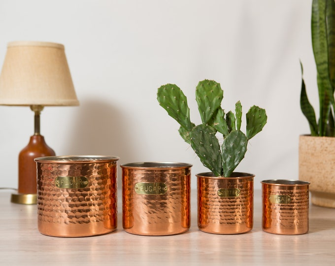 Vintage Canister Set - Hammered Copper Coffee, Tea, Sugar Canisters - Diner Style Kitchen Jar Storage Containers