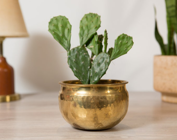 Vintage Solid Brass Planter - Round Metal Pot for Succulents, Cactus, Plants, Herbs, etc - Gold Coloured Bowls