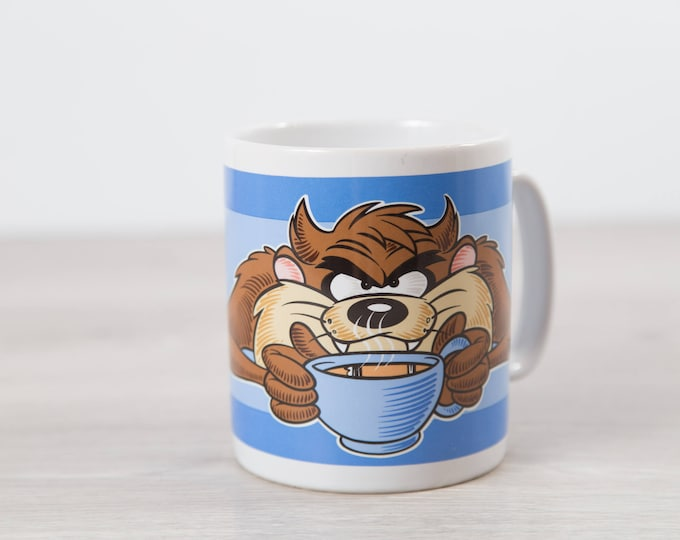 Taz The Tasmanian Devil Mug - LARGE 90's Looney Tunes Coffee Mug - Vintage Disney Collectible Drinking Cup - Wake Up and Smell The Coffee