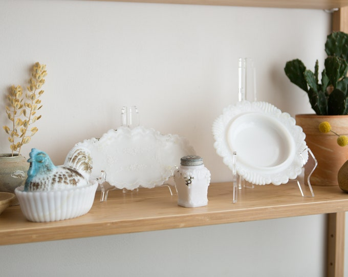 Milk Glass Dishware - Lot of Vintage Mid Century Serving Plates, Shaker, Casserole Dish - Table Centrepieces - Mothers Day Gift