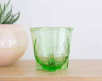 Vaseline Glass Measuring Cup - Mayonnaise Mixer or Egg Measure Unit - Antique Uranium Depression Glass Collectible
