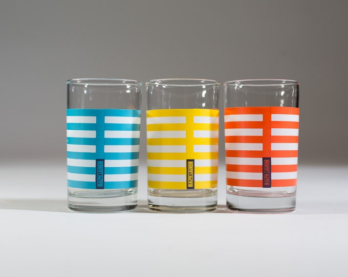 Vintage Ralph Lauren Home Small Striped Cocktail Glasses - set of 3 Summer Colourful Drinking Glasses - Orange, Yellow and Blue
