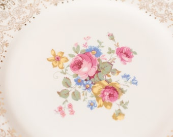 Vintage Dinner Plates - Set of 8 Keystone Canonsburg Floral Plates with Warranted 22k Gold - Ornate Pink Flowers -Made in England Dinnerware