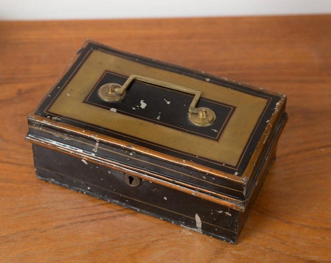 Vintage Metal Cash Box - Gold and Black Banker's Box - Coins Petty Cash Box - Money Savings Change Box