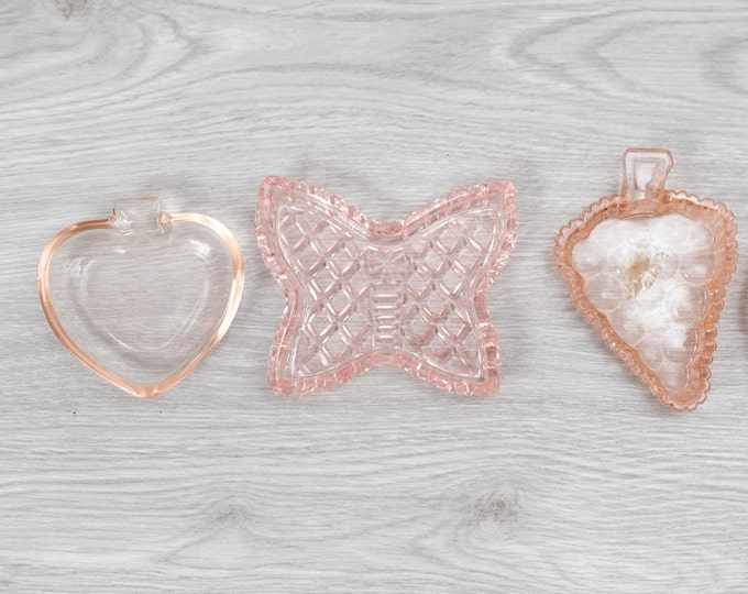 Antique Pink Glass Trays - Small Vintage Depression Glass Decor - Pink Plates - 1930s Home Decor - Butterfly, Grapes, Heart