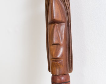 Vintage Wooden Cane - Natural Teak / Rosewood Walking Stick with carved face and brass details- Toronto Vintage - Canada Second Voyage