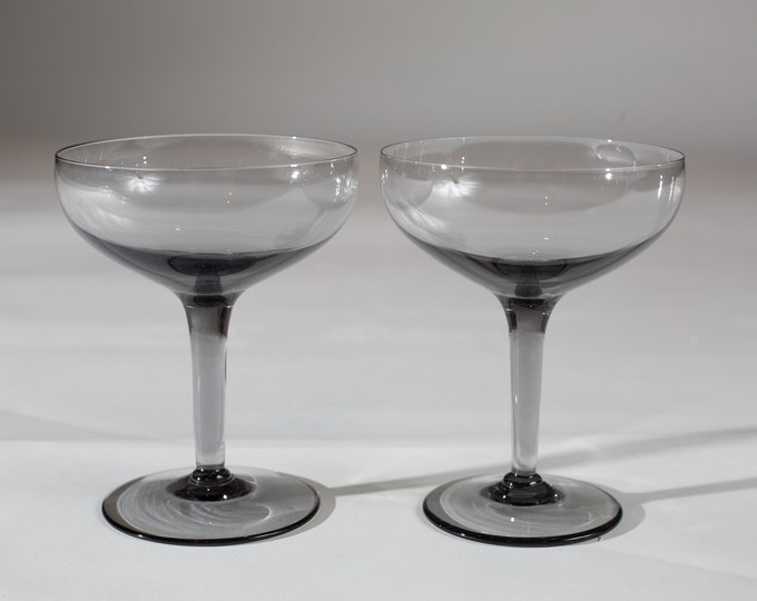 2 Champagne Coupe Glasses - 8oz Mid Century Modern Hollywood Regency Cocktail Glasses - Retro Party Stemware