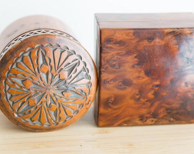 Vintage Trinket Boxes - Handmade Jewelry Box - Brown Colored Applewood and Birdseye Maple Box - Gift for Him - Present for Dad