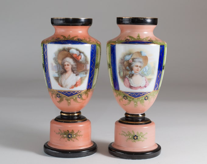 Antique Glass Urns - Vintage Victorian Georgian Pink and Black Painted English Vases with Images of Ladies - Royal Floral Milk glass urns