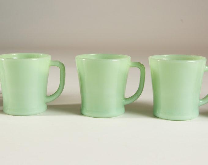 Vintage Jadeite Mugs - Green Milk Glass Mugs - 8oz Coffee or Tea Mugs - Fire King Ovenware Made in USA Collectible Mug