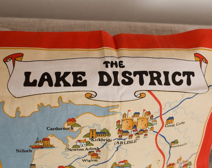 Vintage Tea Towel - Linen Fabric Cloth with Map of The Lake District, United Kingdom