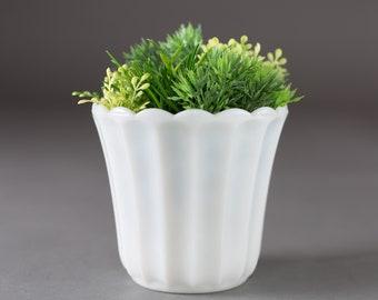 Milk Glass Vase - Vintage Mid Century Modern White Flower Vase - Wedding Decor or Table Centrepiece - Mothers Day Gift - Anniversary Gift
