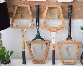 Vintage Wood Tennis Racquets - Set of 4 Wooden Rackets with Wood Protectors - Retro Sports Wall Decor - Boys Room - Cooper Tournament Racket