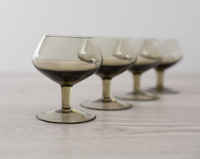 Set of 4 Vintage Smoke Grey/Brown Space Age 3.5oz Apéritif Glasses (MCM Mad Men 1960's Bubble Style Barware) - Orrefors Rhapsody Swedish