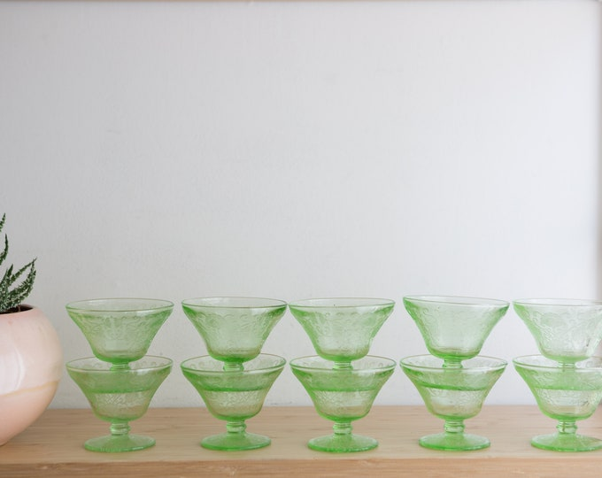 10 Vaseline Glass Sherbert Bowls -  Florentine No.2 or Poppy pattern by Hazel Atlas - Antique Uranium Depression Glass Collectible