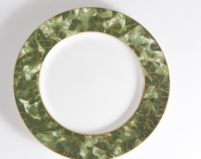 "Aynsley Onyx 10.5"" Dinner Plate - Green and Gold Fine English Bone China - Lush Green Leafy Marbled Jungle Pattern Plate"