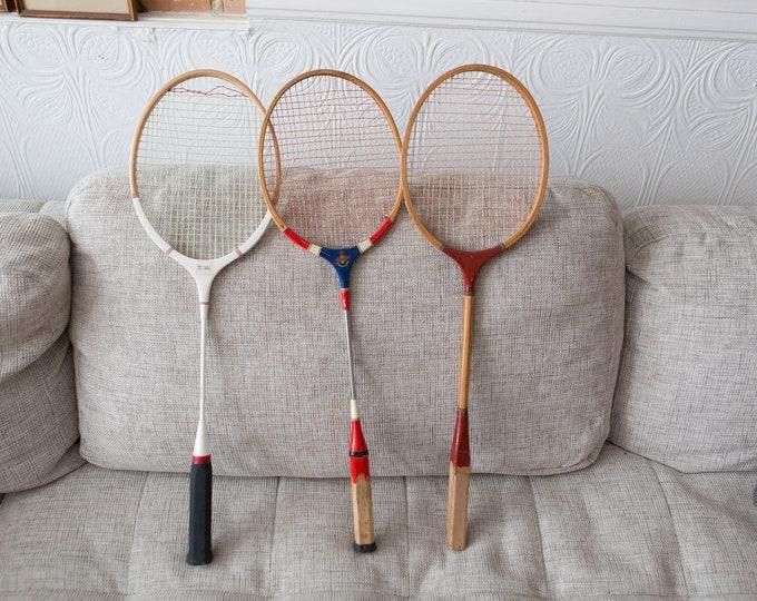 3 Vintage Wood Badminton Racquets - Retro Sports Decor - Boys Room - Wooden Rackets