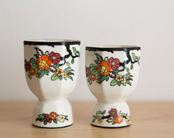Royal Doulton Ceramic Cups - Hand Painted Small Floral Small Footed Ceramic Cups