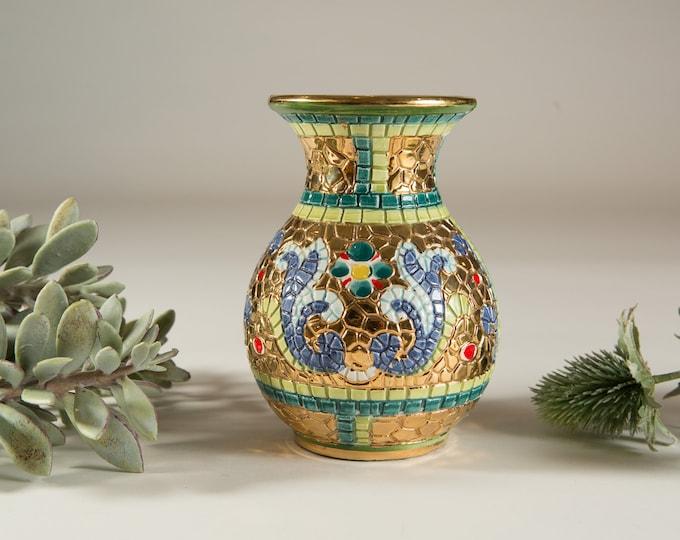 Vintage Mosaic Style Vase - Italian Gold Tile Style Vase - Vintage Studio Pottery Art Vase for Flowers, Branches, Floral Arrangement