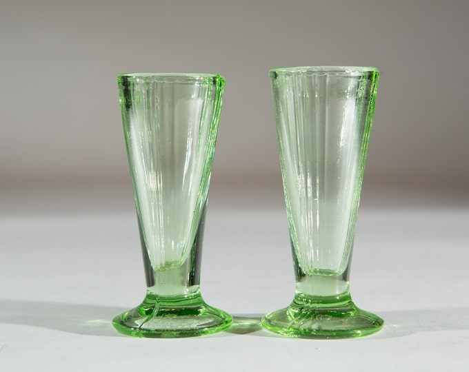 2 Green Apéritif Glasses - 1.5oz Pair of Antique Small Depression Glass Collectible Serving Stemware - Gift for Mom or Dad