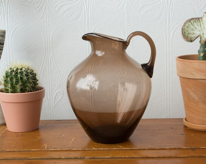 Large Cocktail Pitcher - Brown Smokey Glass HandBlown Bubble Pitcher / Jug - Studio Art Glass Modern Boho Handmade Pitcher