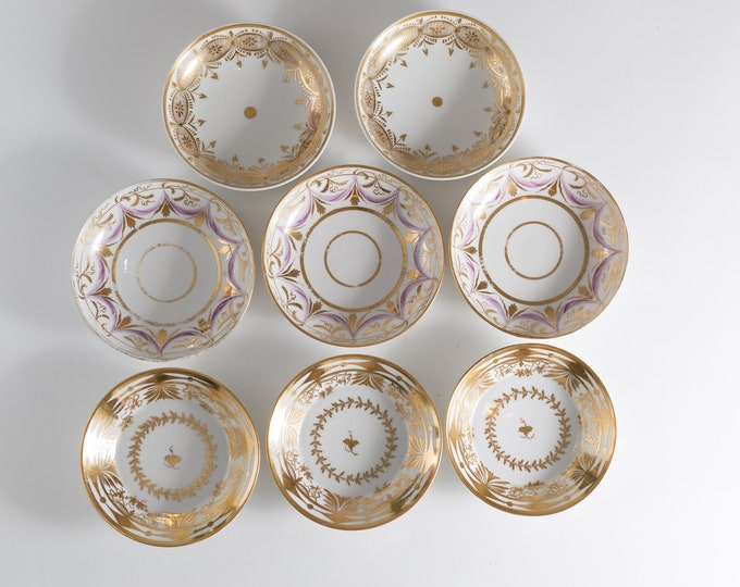 Vintage Gold Bowls - Set of 8 Decorated 22k Gold Small Ceramic Serving Bowls - Ornate Geometric Fine China Tableware