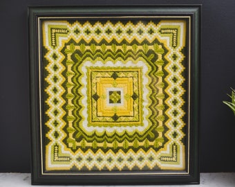 Vintage Needlepoint Artwork - Geometric Green and Yellow Wood Framed Embroidered Cross Stitch Fabric Art Tapestry with Shapes