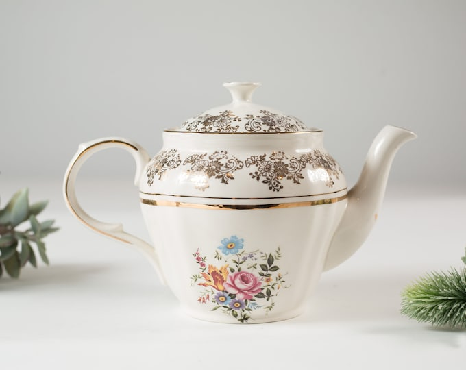 Alfred Meakin Vintage Teapot - English Floral Tea Pot with Flowers -  Ornate 22kt Golden Posy Pattern - Mothers Day Gift