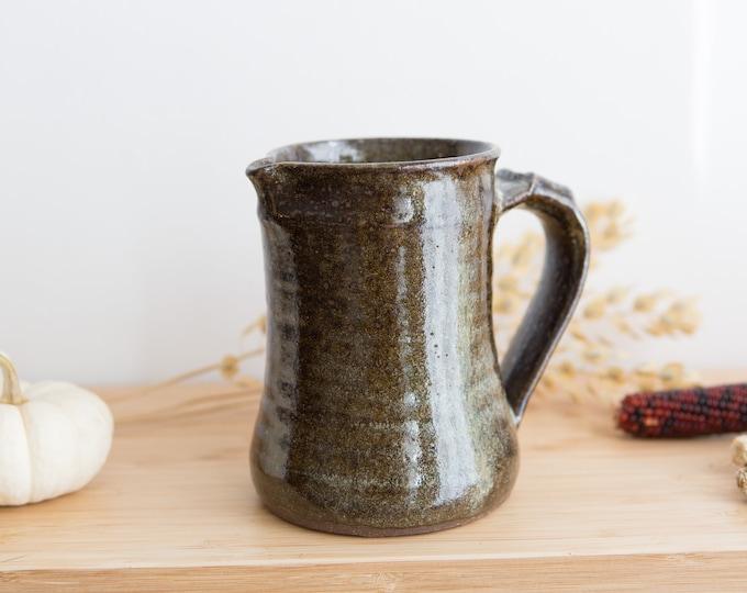 Handmade Ceramic Pitcher - Dark Greenish Brown Earthy Vintage Boho Glaze Jug - Studio Pottery Earthtone Art Vase