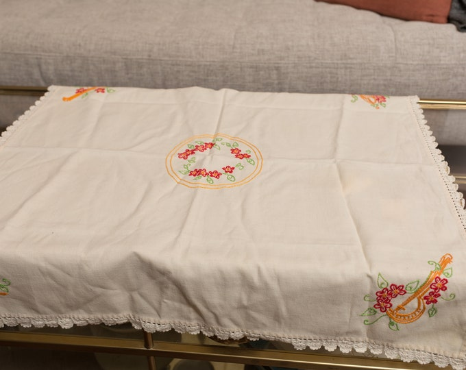 Vintage Musical Tablecloth - Vintage off-White Quartet Table Linen with Embroidered Instruments on each corner - Retro Fabric Tapestry