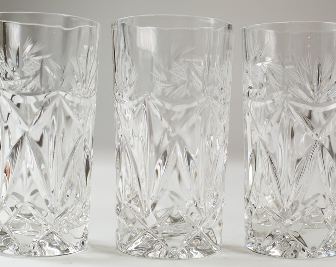 6 Vintage Highball Glasses - Etched Style Cocktail Highball Glassware - Drinking Glasses with Starburst Diamond Pattern