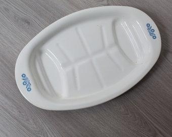 Vintage Corning Plate - 16.5 inch Corning Ware Corn Flower White and Blue Ornate Turkey Roaster Baking Tray