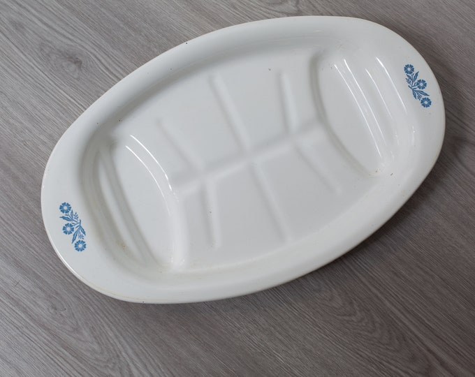 Vintage Corning Plate - 16.5 inch Corning Ware Corn Flower White and Blue Ornate Turkey Roaster Baking Tray
