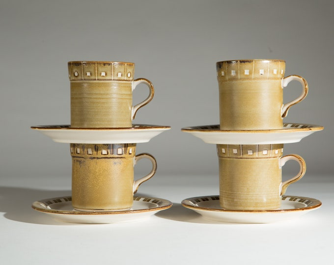 Vintage Ceramic Coffee Mugs - Set of four 8oz Kasuga Moonglow Earth-tone Sediment Style cups with Brownish Green Tone - Expresso Latte