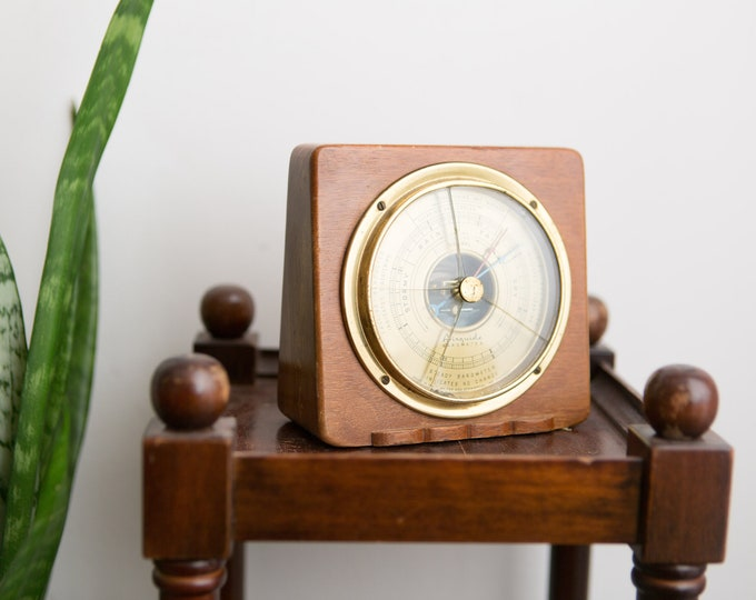 Airguide Wall Barometer - 1930's Vintage Brass and Wood Barometer