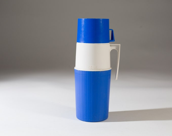 vintage thermos vacuum bottle - Blue Colored Dipped Glass Lined Vacuum Flask Coffee Thermos - Camping Travel Hot Chocolate Thermos