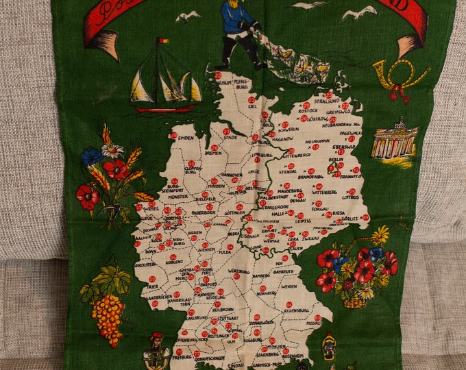 Vintage Tea Towel - Linen Fabric Cloth with Map of The Netherlands / Deutschland