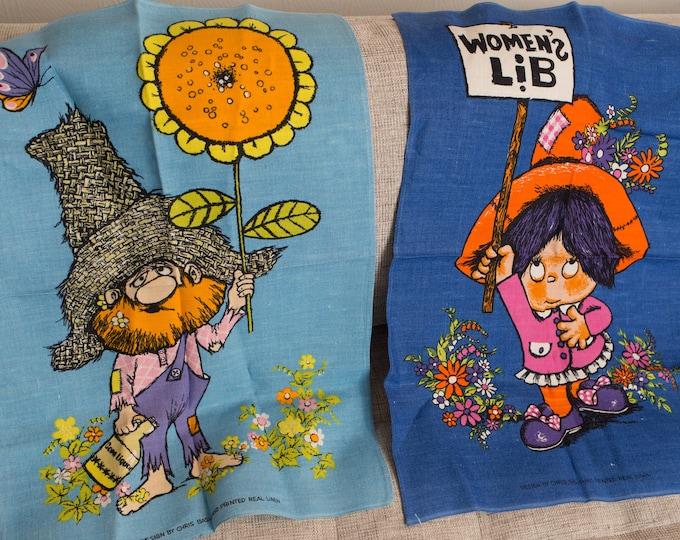 2 Vintage Tea Towels - Chris Bash Hand Printed Linen