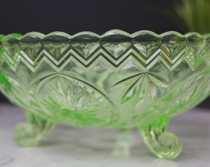 Vaseline Glass Bowl - Antique Uranium Depression Glass Collectible Serving Footed Bowl with Chevron Pattern - Glows Under Blacklight