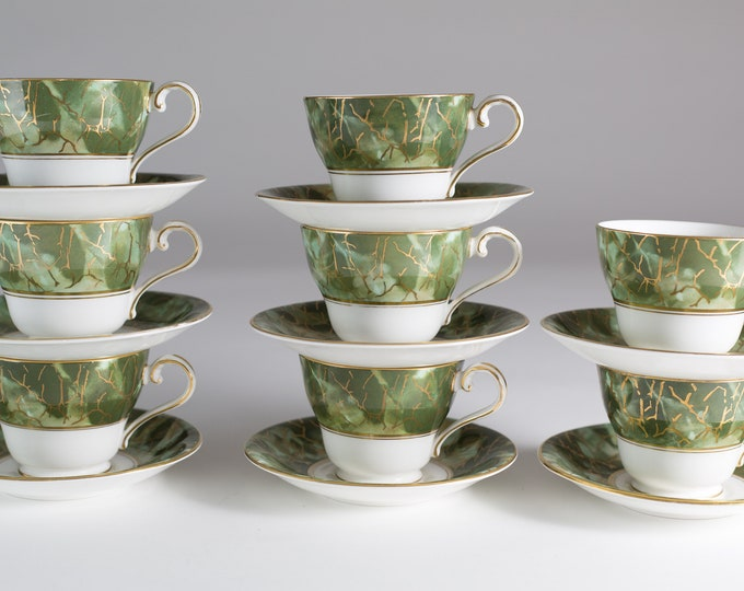 8 Aynsley Onyx Teacups and Saucers - Set of Green and Gold Fine English Bone China - Lush Green Leafy Marbled Jungle Pattern
