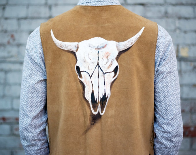 Kobler Suede Leather Western Brown Vest with Bull Skull Design / Indigenous Aboriginal First Nations Navajo Art Patterns Lace