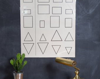 Vintage Ideal School Supply Company learning Chart - 1950's Shapes Alike - Shapes Different Chart 2700 E - Retro Elementary School Decor