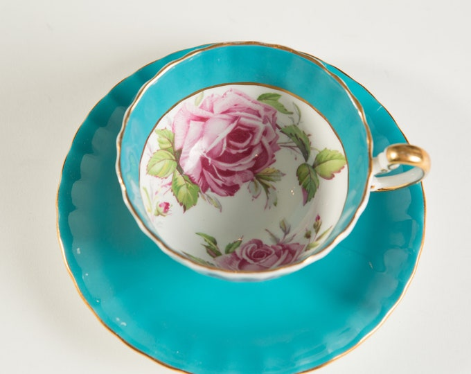 Vintage Bone China Teacup - Aynsley Tea cup and Saucer with Turquoise and Pink Floral Flower Pattern- Made in England