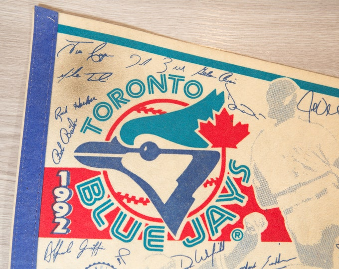 Toronto Blue Jays Pennant - Vintage 1992 Felt Souvenir Hanging Triangle Shaped Sports Theme Wall Decor - Boys Room Wall Hanging