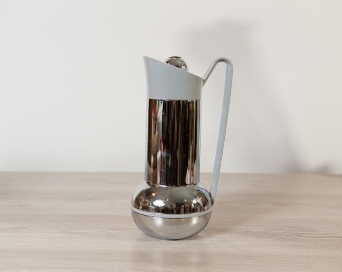 Chrome Thermos Pitcher - Mid Century Modern Metal Coffee / Tea Thermal Jug - Space Age Atomic Decor