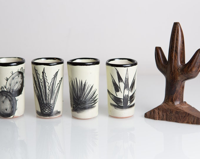 4 Cactus Shot Glasses and a Hand-carved Wood Cactus